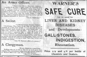 Warner\'s Safe Cure Advertisement from London (1896)