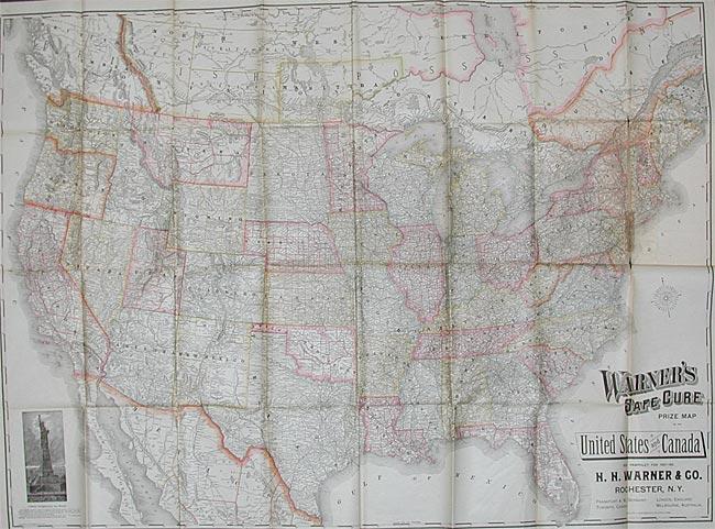 Warner's Safe Cure Prize Map (1887)