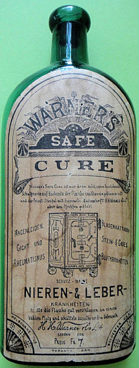 Labelled Warner's Safe Cure Pint from Frankfurt in Emerald Green