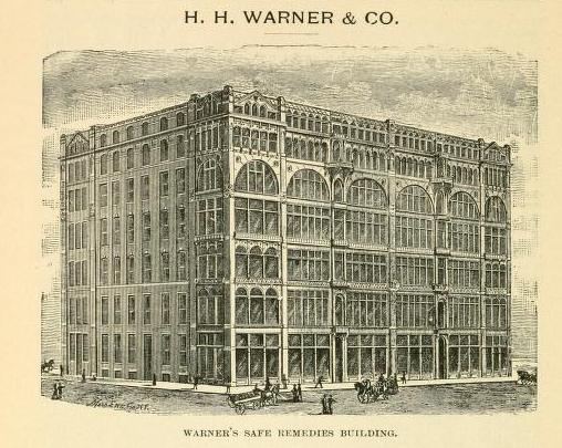 Engraving of Warner's Safe Remedies Building