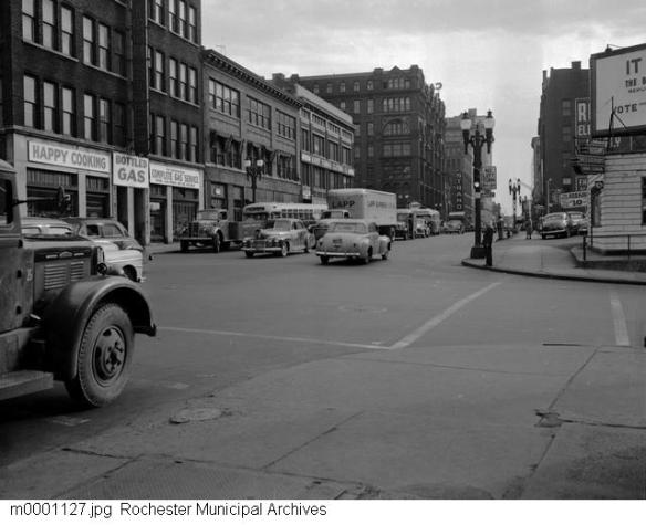 View of Warner's Safe Remedies Building from the Intersection of St. Pauls and Andrews Streets in 1949