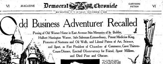 Odd Business Adventurer Recalled - Rochester Democrat & Chronicle (Headline) - 3 Nov 1929