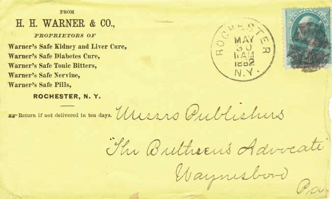 1882 H. H. Warner & Co. Envelope12312014