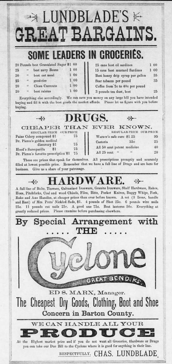 Lundblades Great Bargains - The Great Bend Weekly Tribune - 7 Feb 1896