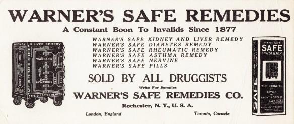 Warner's Safe Remedies Blotter01032015