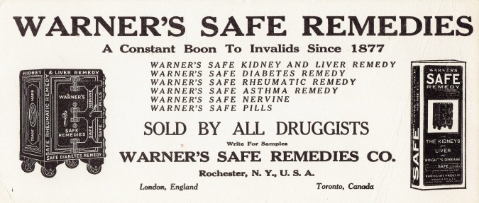 Warner's Safe Remedies Blotter01032015