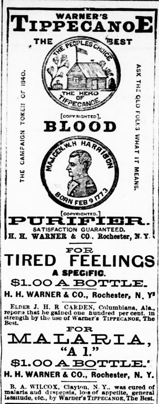 Warner's Tippecanoe Blood Purifier - The Dighton Herald (Dighton, KS) - 12 Jun 1885