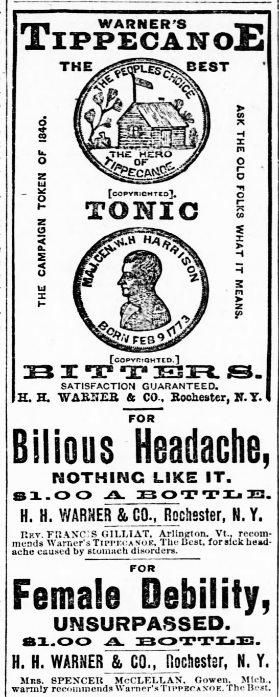 Warner's Tippecanoe for Bilious Headache - The Great Bend Weekly Tribune (Great Bend, KS) - 8 May 1885