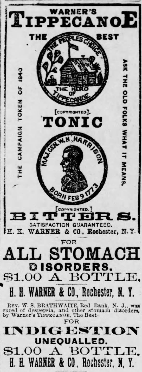 Warner's Tippecanoe The Best Tonic - The Daily Republican (Monongahela, PA) - 8 Jul 1885