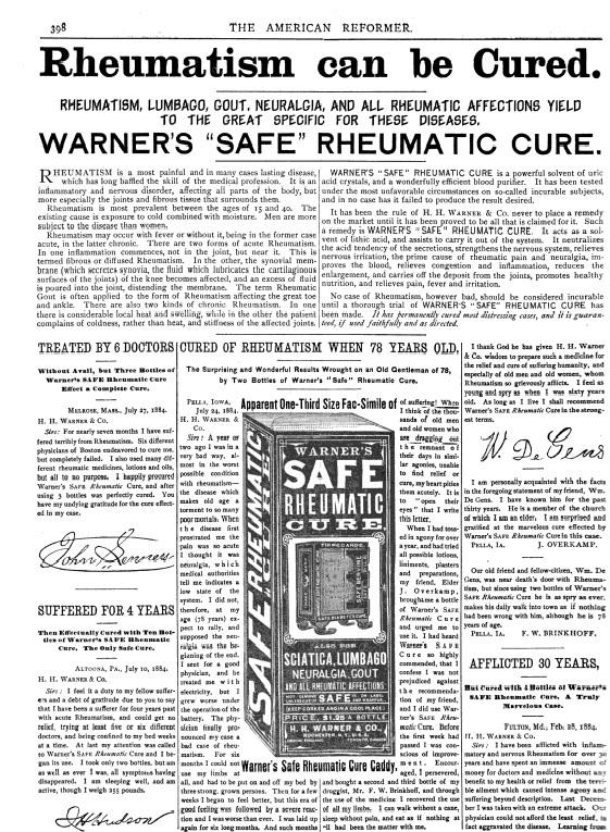 The American Reformer - Warner's Rheumatic Cure - Dec. 6, 1884