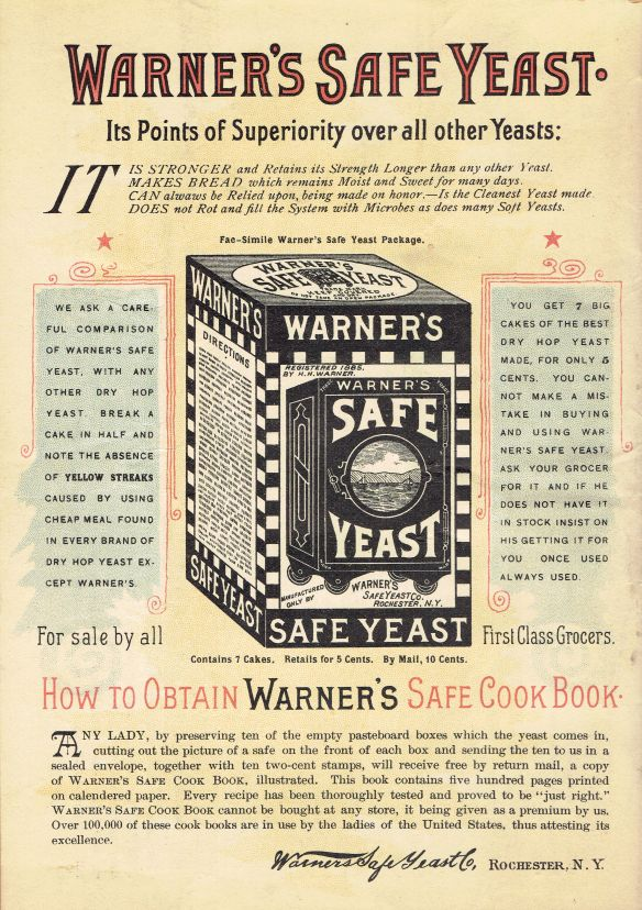 The back cover of the 1892 Warner's Safe Cure Almanac promoted the Cook Book